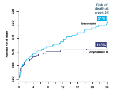 Estimated risk of death at week 24 in patients receiving itraconazole vs amphotericin B for HIV-associated talaromycosis